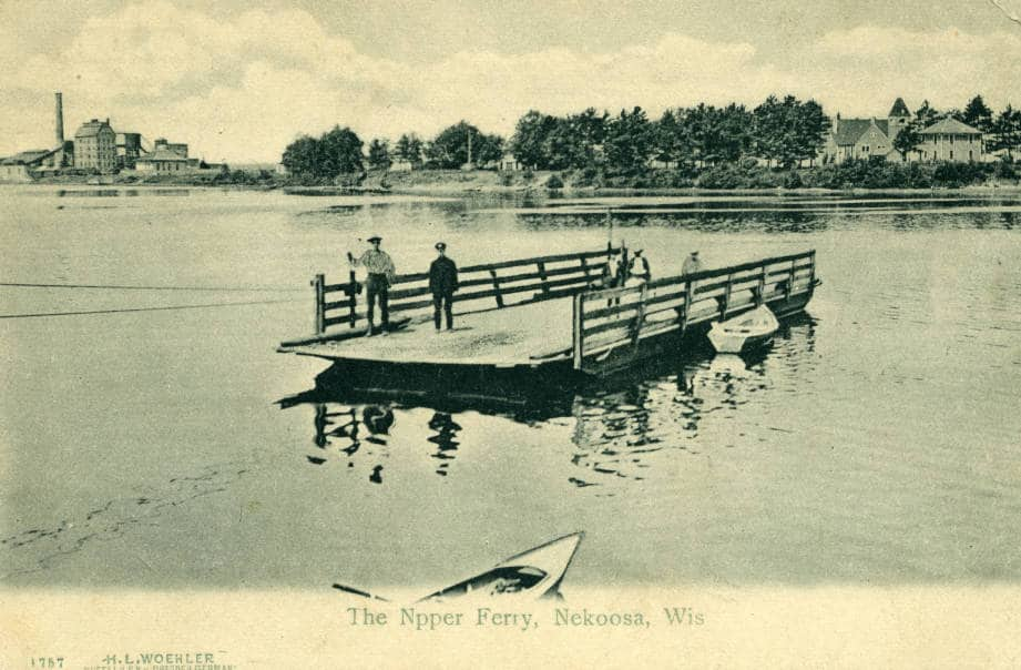 Ferry boat on the Wisconsin River at Nekoosa, ca. 1907. South Wood County Historical Museum.
