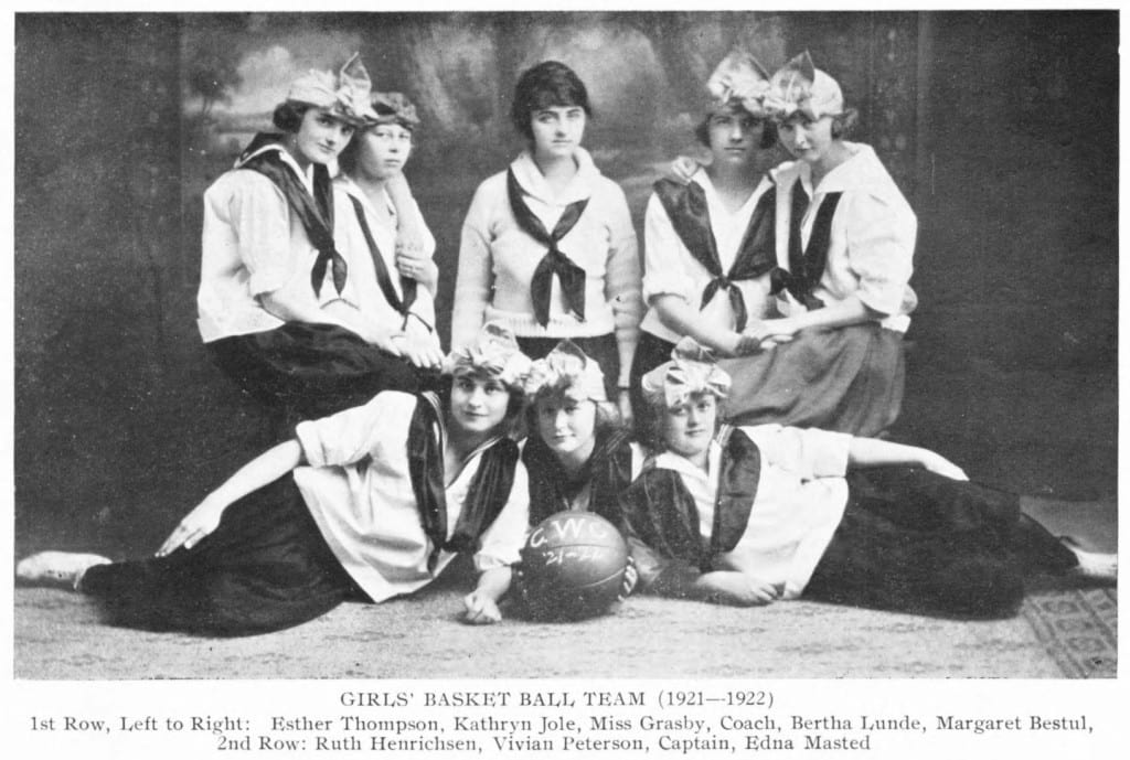 Central Wisconsin College girls' basketball team, from the College's 1923-1924 yearbook. Scandinavia Public Library.