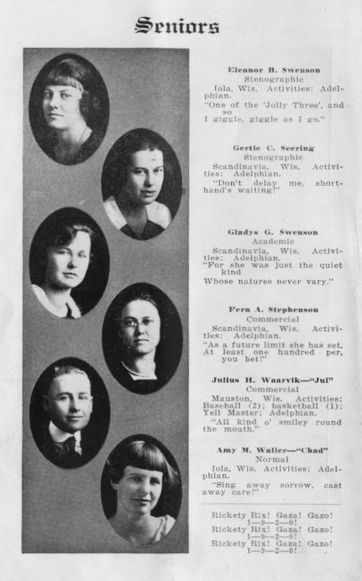 A page of senior portraits from the Scandinavia Academy yearbook, 1919-1920. Scandinavia Public Library.