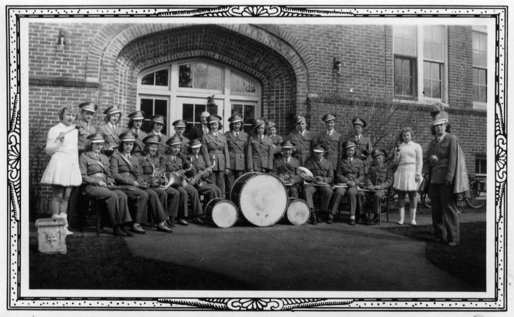 Scandinavia High School band, from the 1943 yearbook. Scandinavia Public Library.