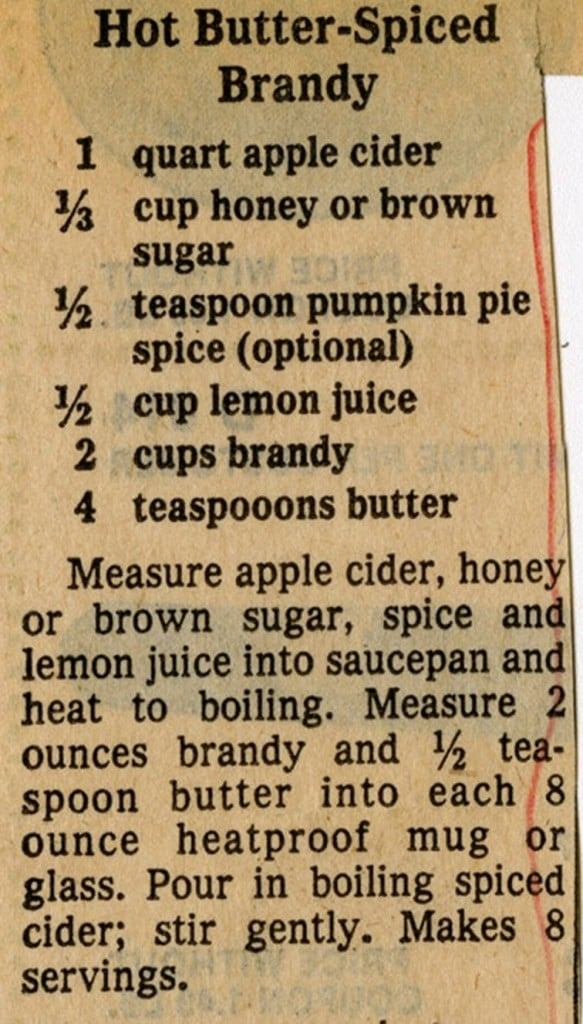 Recipe for Hot Butter-Spiced Brandy published in a Milwaukee newspaper, 1977. Milwaukee Public Library.