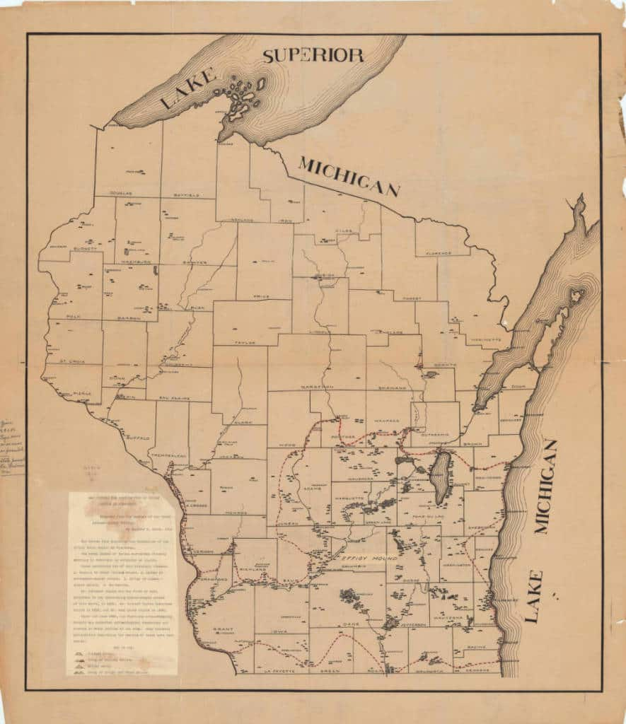 Map showing the distribution of Indian mounds in Wisconsin, 1916. Wisconsin Historical Society.