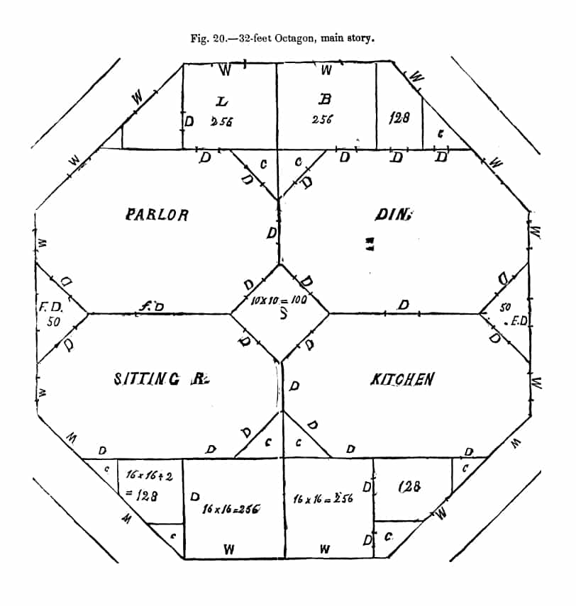 "Floor plan for an octagon home, from Orson Squire Fowler's ""A Home for All: Or, A New, Cheap, Convenient, and Superior form of Building."" Internet Archive via Google Books/University of Michigan."