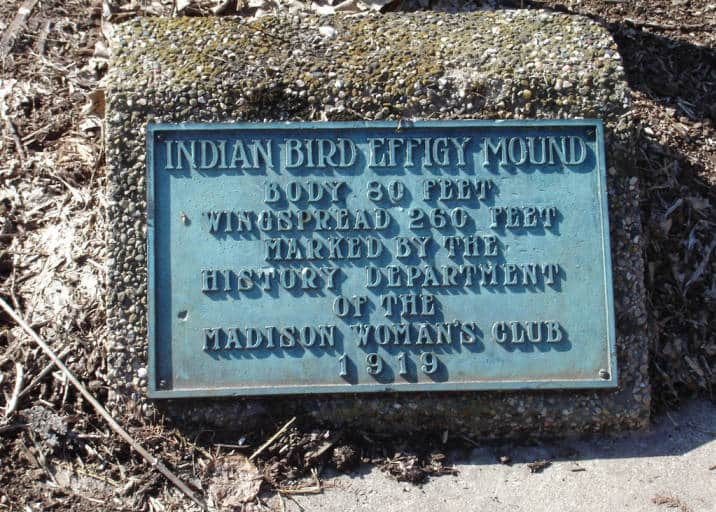 This plaque marks an effigy mound on the Edgewood College campus, Madison, Wisconsin. Edgewood College Library.