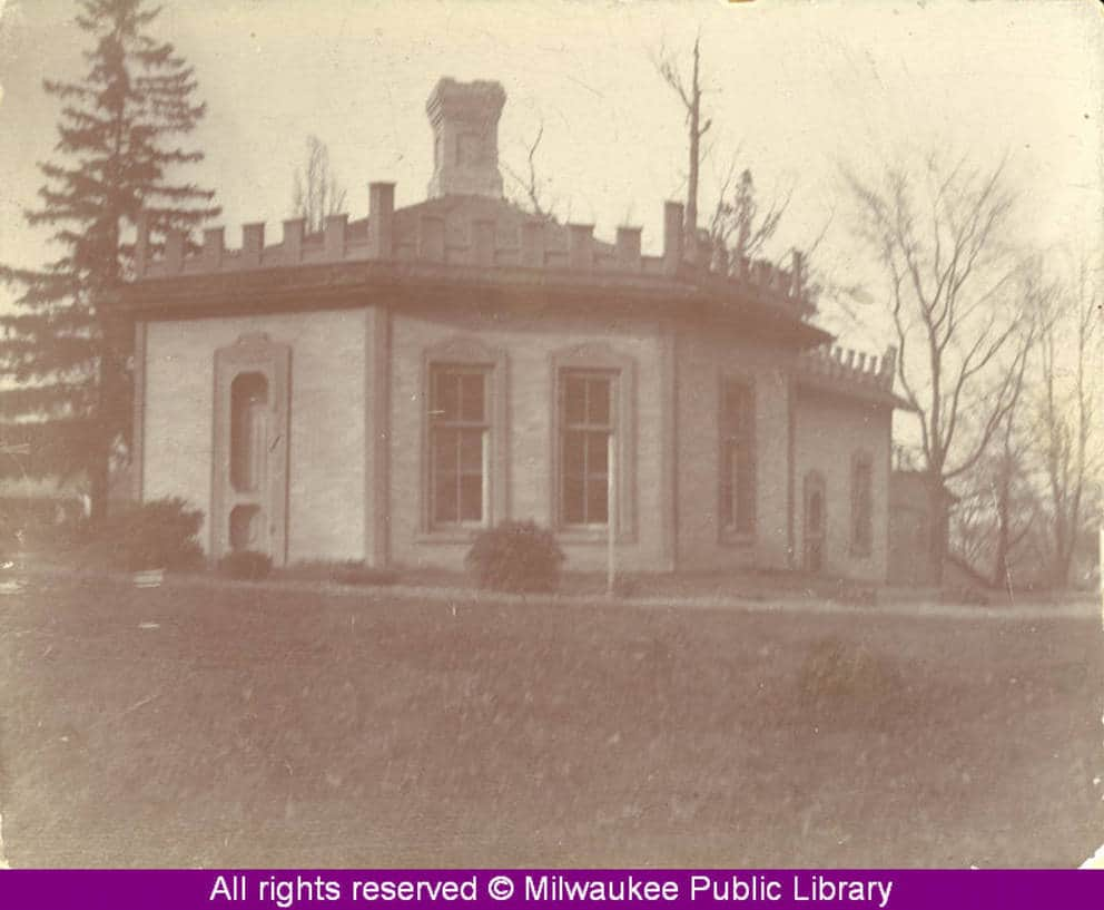 Gordon Cottage on Humboldt Avenue in Milwaukee, shown in 1898. Built before the Civil War by candy maker George Gordon, this home was razed by the City of Milwaukee Park Commission in 1940. Milwaukee Public Library.