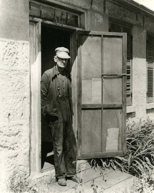 Peter Kessler at the door of his stone house on Jail Alley. Mineral Point Library Archives.