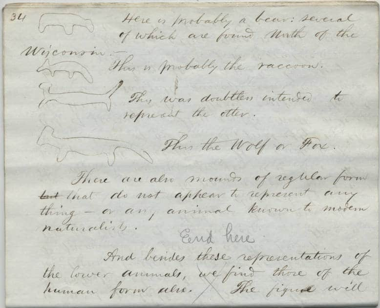 A page of handwritten notes and sketches from a lecture by Increase Lapham in 1851. Wisconsin Archaeological Society Records, Wisconsin Historical Society.