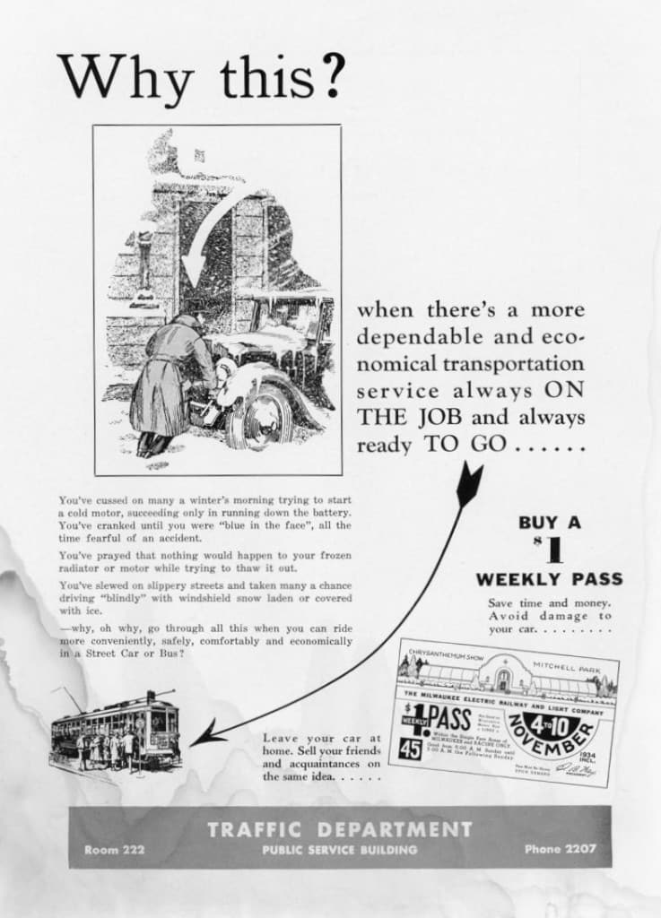 Advertisement for weekly street car and bus passes from the January 1935 issue of Rail and Wire. Milwaukee Transit Archives and Museum.
