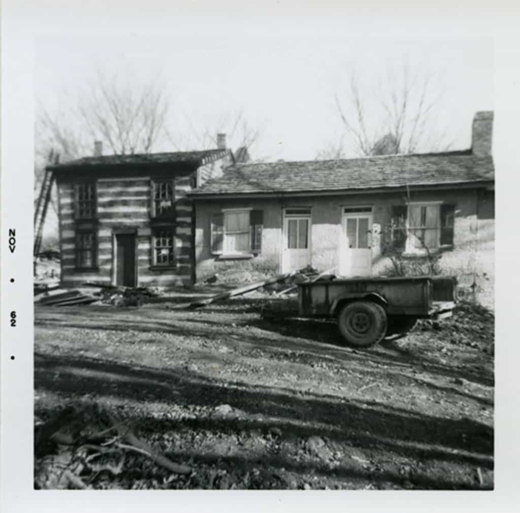 Rowhouse buildings during restoration by Bob Neal and Edgar Hellum, 1962. Now part of Pendarvis state historic site. Mineral Point Library Archives.