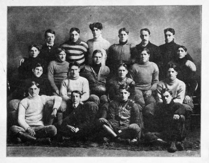 Group portrait of the Madison High School football team, 1902. Dane County Historical Society.