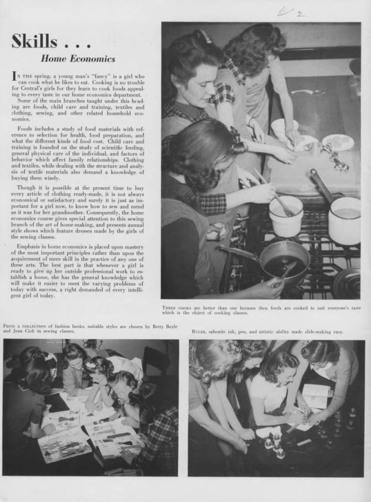 Girls in cooking and sewing classes, 1940. Dane County Historical Society.