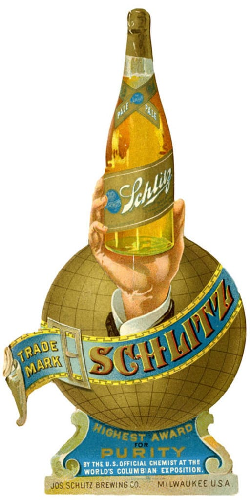More elaborate trade cards were die-cut in complex shapes, such as this card created for the Schlitz Brewing Company. Milwaukee Public Library.