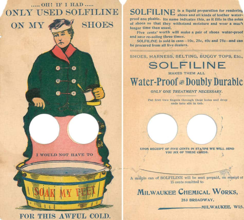 This interactive trade card from Milwaukee Chemical Works advertises Solfiline, a waterproofing product. Front and back views of the card are show side-by-side. Milwaukee Public Library.