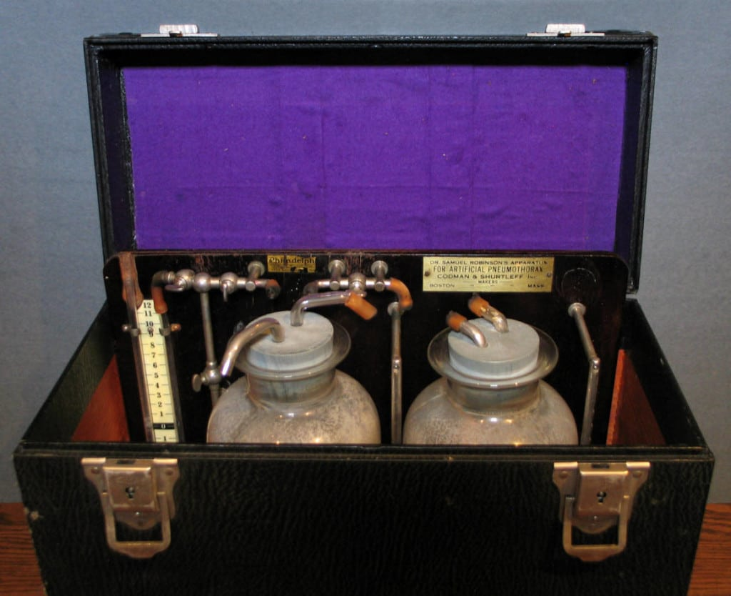 Dr. Samuel Robinson's Apparatus for Artificial Pneumothorax, used to collapse the lung in patients suffering from pulmonary tuberculosis. This surgical treatment was replaced by antibiotics in the 1940s. Medical College of Wisconsin Libraries.