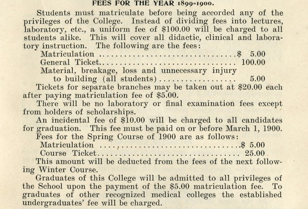 Fees for the year 1899-1900, from Milwaukee Medical College Medical Department's sixth annual course catalog. Medical College of Wisconsin Libraries.
