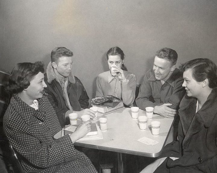 Students drinking malts at Babcock Hall, 1952. UW-Madison Archives.