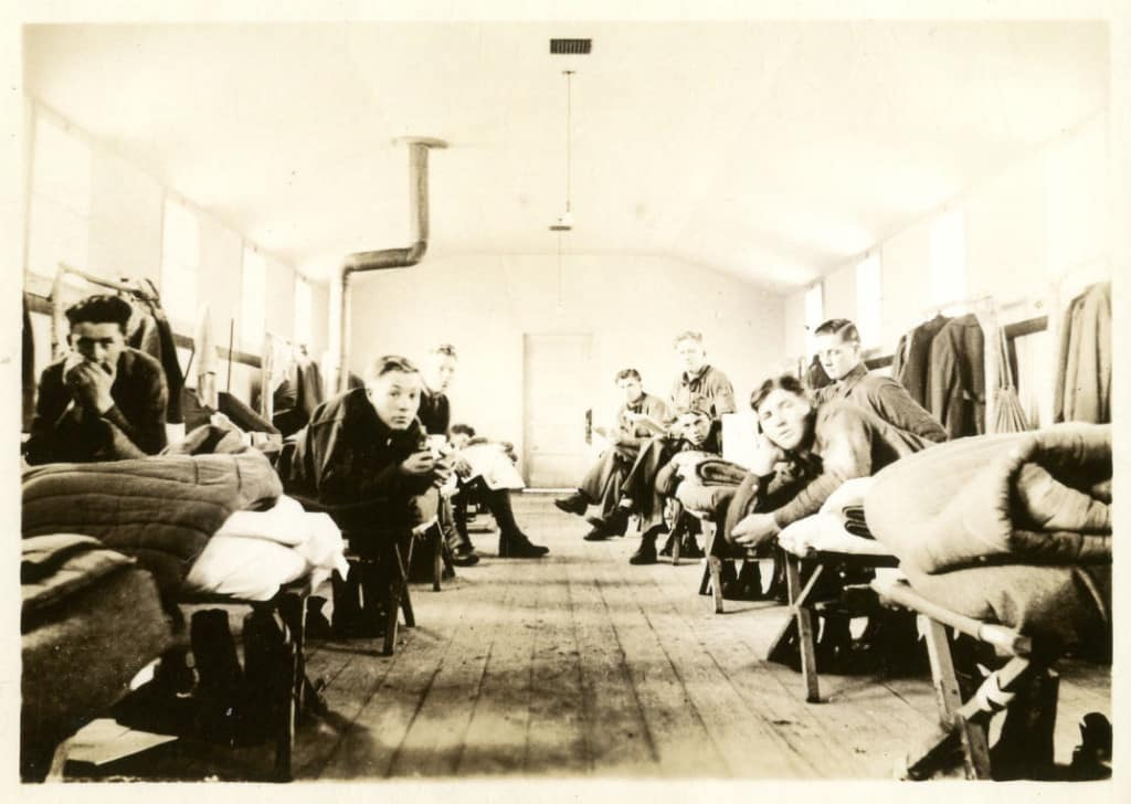 Recruits in barracks at Camp 657. Photo by Edward Drab. Langlade County Historical Society.