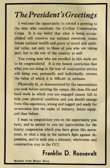 "A welcome message from President Roosevelt, reprinted from ""Happy Days,"" the national CCC newsletter, kicks off the pamphlet ""Your CCC: A Handbook for Enrollees,"" by Ray Hoyt. Langlade County Historical Society."