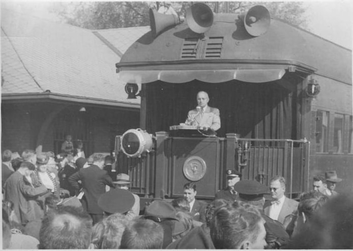 Harry Truman in Sparta, circa 1940, photographed by Herbert Anderson. Wilton Public Library. Loaned by Alice Brandau.