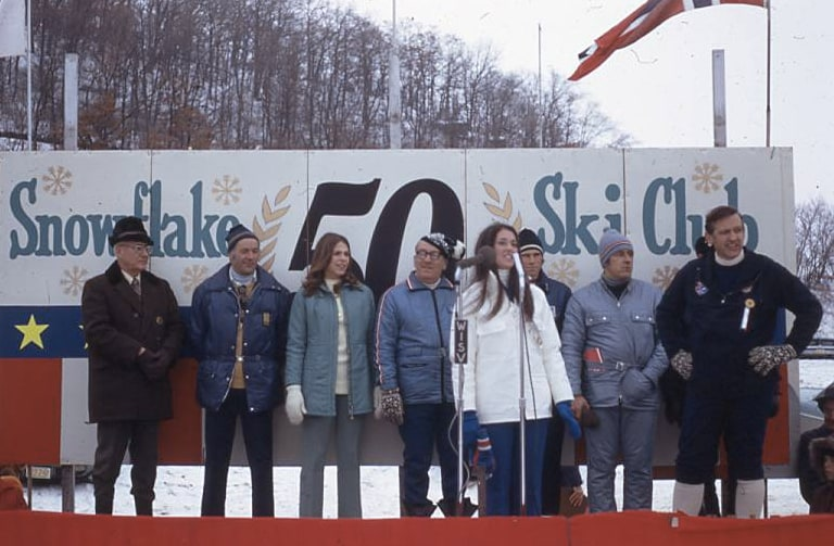 Opening ceremony for the 50th anniversary of the Snowflake Ski Club ski jump, Westby, 1973. Bekkum Memorial Library. Loaned by Lincoln Knutson estate.