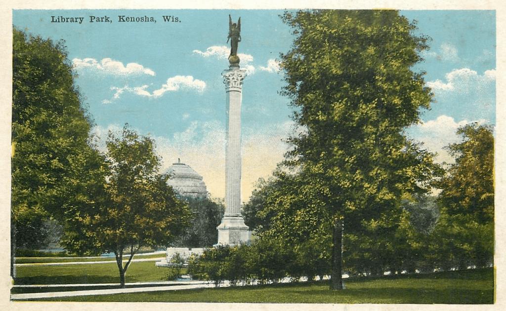 Vintage postcard of Library Park, Kenosha. Courtesy Melinda Roberts.