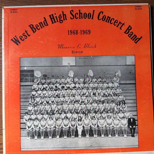 West Bend High School Concert Band record cover. Collection of Washington County Historical Society. Photo by Dorothea Salo.