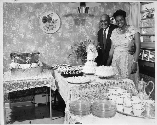 Carson and Bea Gulley at their 25th wedding anniversary party in their new home in the Crestwood sub-division. Wisconsin Historical Society.