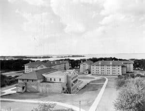 The Van Hise dormitories in 1929. Carson and Bea Gullley's apartment was in the basement of Tripp Hall, on the right. UW-Madison Archives/University of Wisconsin Digital Collections.