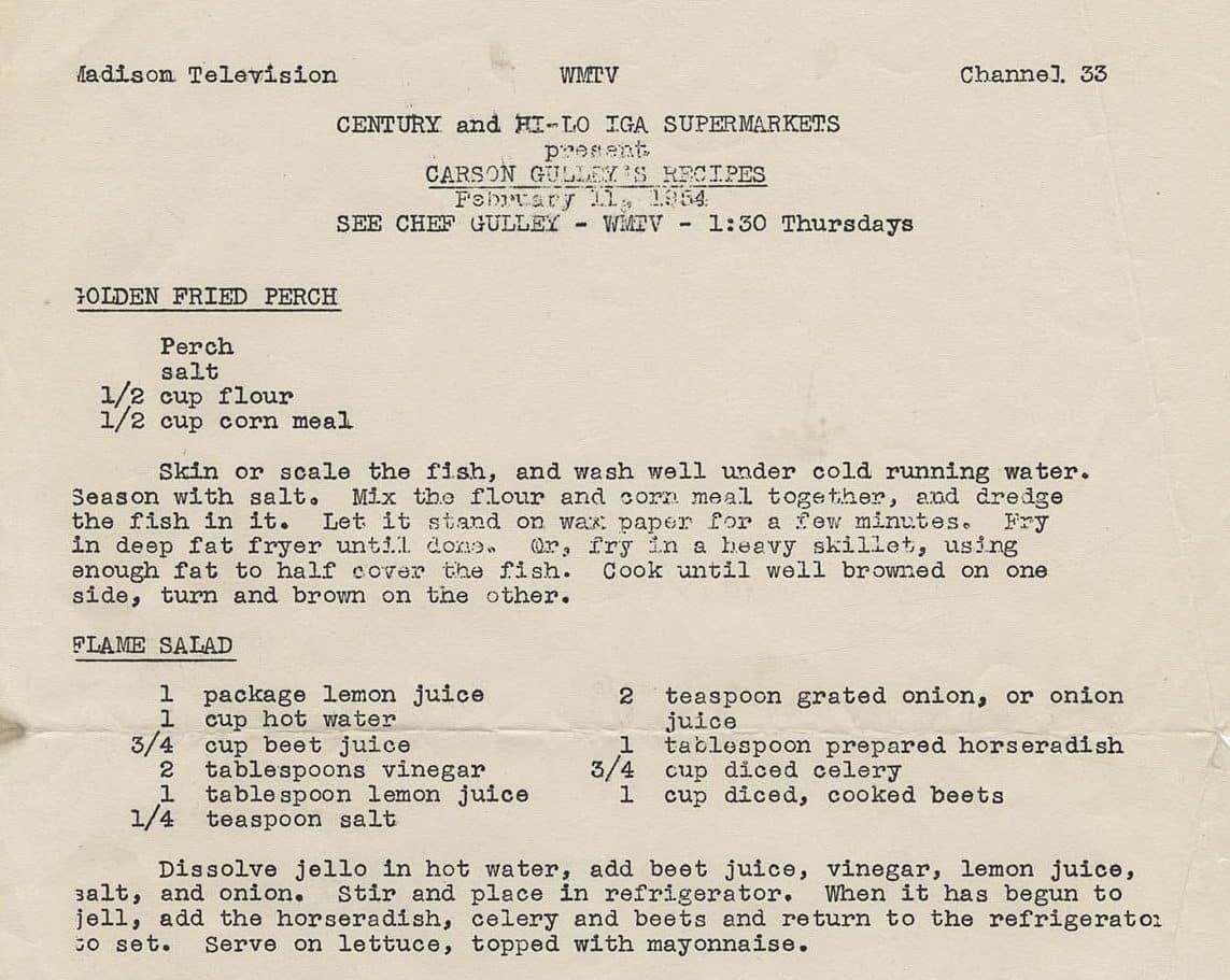 "Recipes from ""What's Cookin'"" on WMTV, February 1954. UW-Madison Archives/University of Wisconsin Digital Collections."