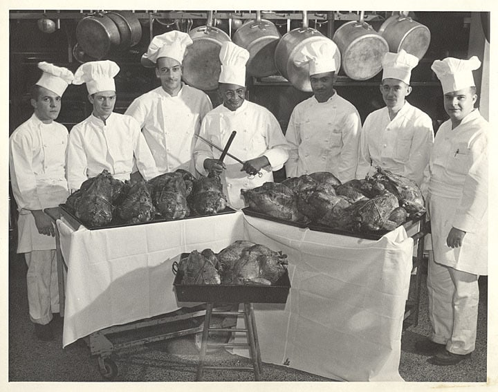 Carson Gulley and his chefs, Thanksgiving 1947. UW-Madison Archives/University of Wisconsin Digital Collections.