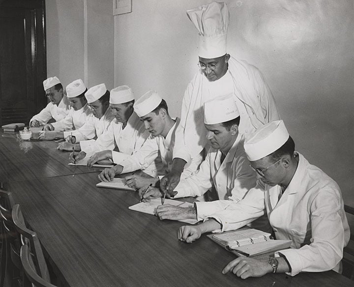 Gulley teaching chefs-in-training. UW-Madison Archives/University of Wisconsin Digital Collections.