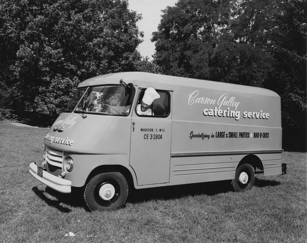Carson Gulley in his catering service van. UW-Madison Archives/University of Wisconsin Digital Collections.