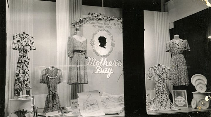 Henderson-Hoyt Department Store display window at 2-10 North Eighth Street in Manitowoc in 1942. In the days before radio and TV, department store display windows at sidewalk level provided good advertising. This building remains standing in 2013. The  Schuette Brothers' building (shown above) is three blocks south. Manitowoc Public Library.