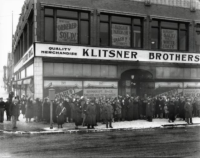 In Milwaukee, smaller operations existed in neighborhoods far from the city's center.  Klitsner's Department Store was built at the corner of S.13th Street and W. Lincoln Avenue in 1925.  This photo shows it in its final days, in 1932. The business didn't last long, but the building did. Today it houses the going concern of Furniture To Go. UW-Milwaukee Archives. Photo by Roman Kwasniewski.