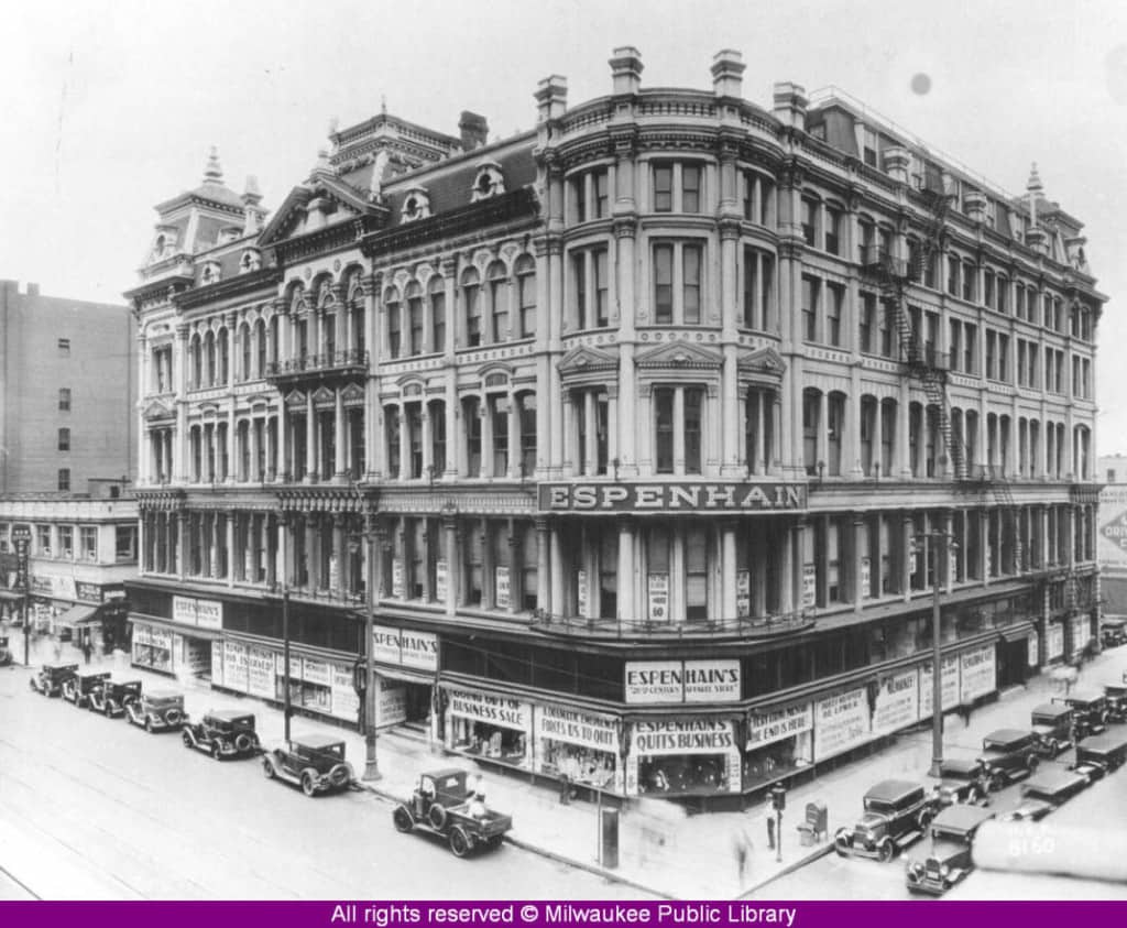 It's hard to believe that such a tremendous building once graced the northwest corner of Fourth Street and Wisconsin Avenue in downtown Milwaukee. Espenhain's Department Store started business in 1879 and moved to this location in 1905. This photo shows it at the time of its going-out-of-business sale in the early 1930s. Today the Wisconsin Center occupies this site. Milwaukee Public Library.