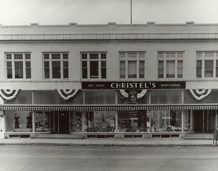 It wasn't unusual for a city as small as Kiel, with a population of less than 4000, to have a store like Christel's on its main thoroughfare. This building, now for sale, still stands at 626 Fremont Street. Heritage Collection, Kiel Public Library.