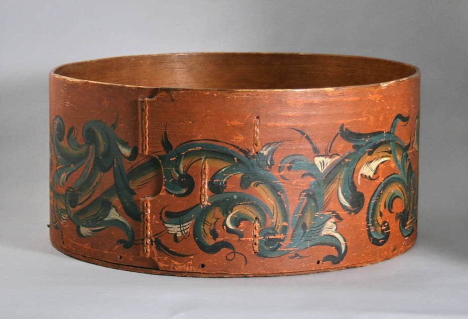 Rosemaled bentwood box attributed to Paul Skavlem, Town of Plymouth, Rock County, ca. 1841-1866. Old World Wisconsin.