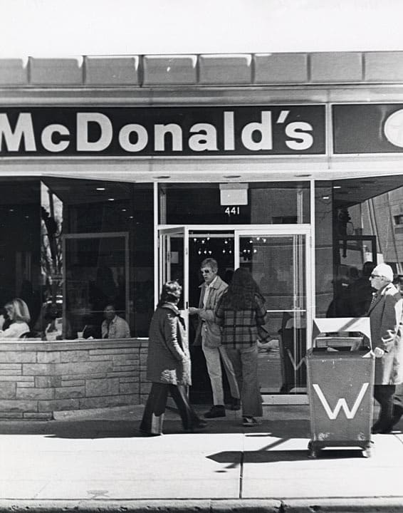 McDonald's storefront on Lake Street in Madison, circa 1975-1985. UW-Madison-Archives.