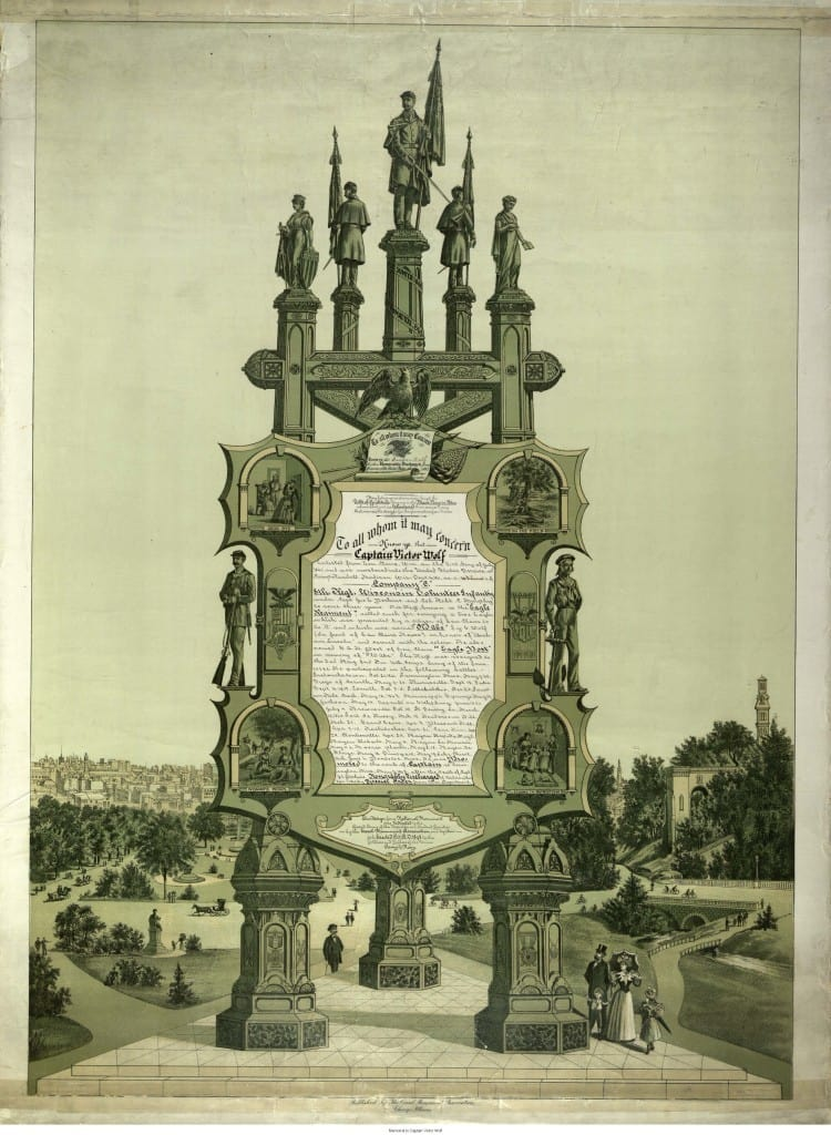 "Lithograph of ""Easel Monument Souvenir"" issued to Captain Victor Wolf by the Easel Monument Association. Donated to the Chippewa Valley Museum by the Daughters of the American Revolution."