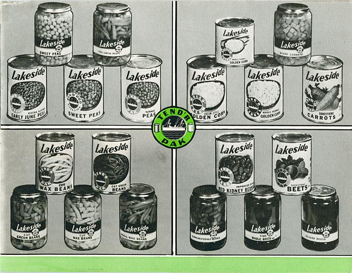 Lakeside vegetables in glass jars, ca. 1947.